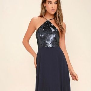 "Lulu's ""The Best Part"" Sequin Navy Maxi"